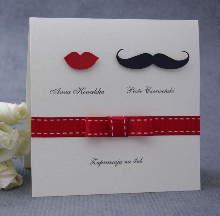 Mustache and lips wedding invitations