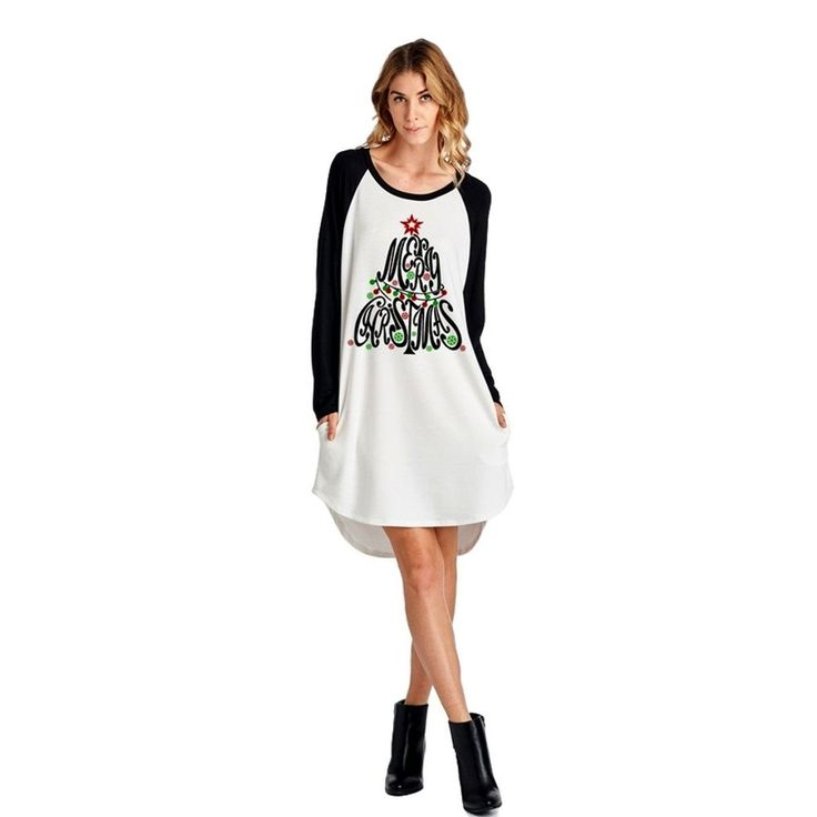 Merry Christmas Print Dress, White
