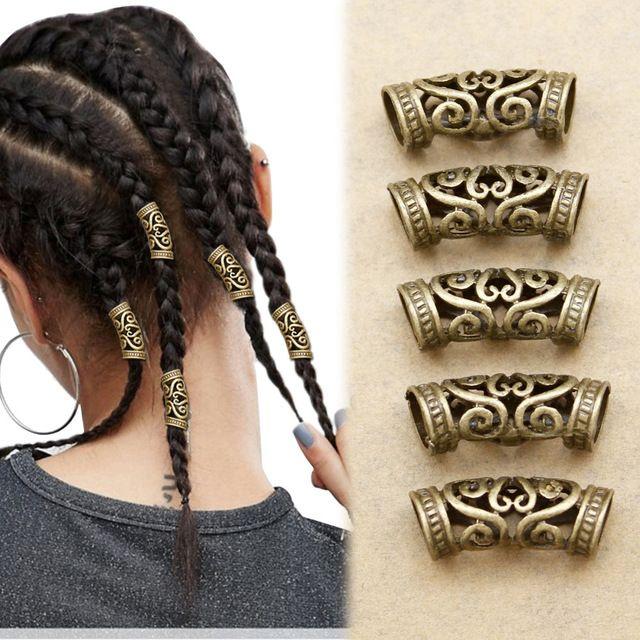 5x Norse Viking Barba Do Redemoinho Talão Rasta Dreadlocks Trança Cabeça Vestido Clipe Pin Acessórios de Cabelo Presente de Natal Headband Mantilha