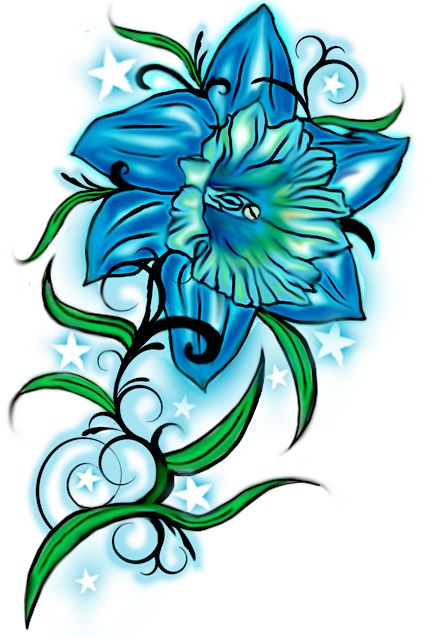 future tattoo with julie 39 s name december flower and turquoise daffodil tattoo design by. Black Bedroom Furniture Sets. Home Design Ideas