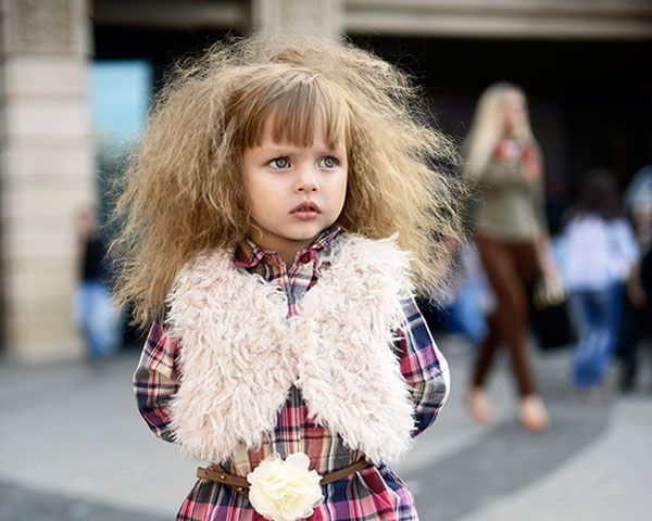 Runway kid-style. Straight Bangs and Crimped Volume.