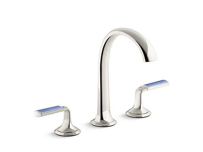 Sink Faucet Arch Spout Celeste Blue Wave Enamel Lever Handles Sink Faucets Bathroom Faucets Faucet
