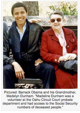 """Pictured: Barrack Obama and his Grandmother, Madelyn Dunham. """"Madeline Dunham was a volunteer at the Oahu Circuit Court probate department and had access to ..."""