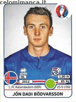UEFA EURO 2016™ Official Sticker Album: Fronte Figurina n. 623 Jón Dadi Bödvarsson