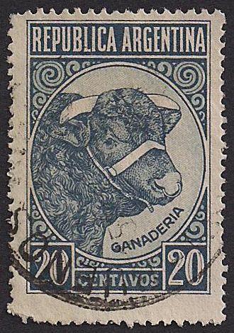 Estampilla Argentina, 1951 - Toro y Ganadería