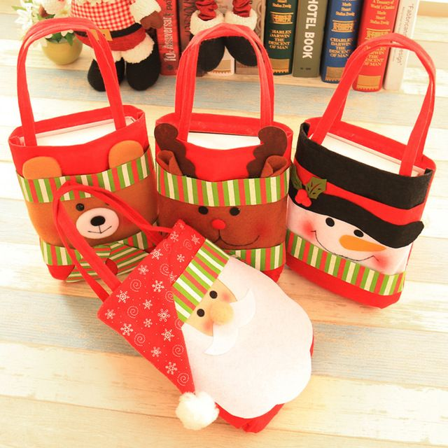 1 Unids Golosina Bolsa Botella De Vino Regalo de la Feliz Navidad de Santa Claus Muñeco de Nieve Decoración De Navidad portátil Bolsas de Regalo