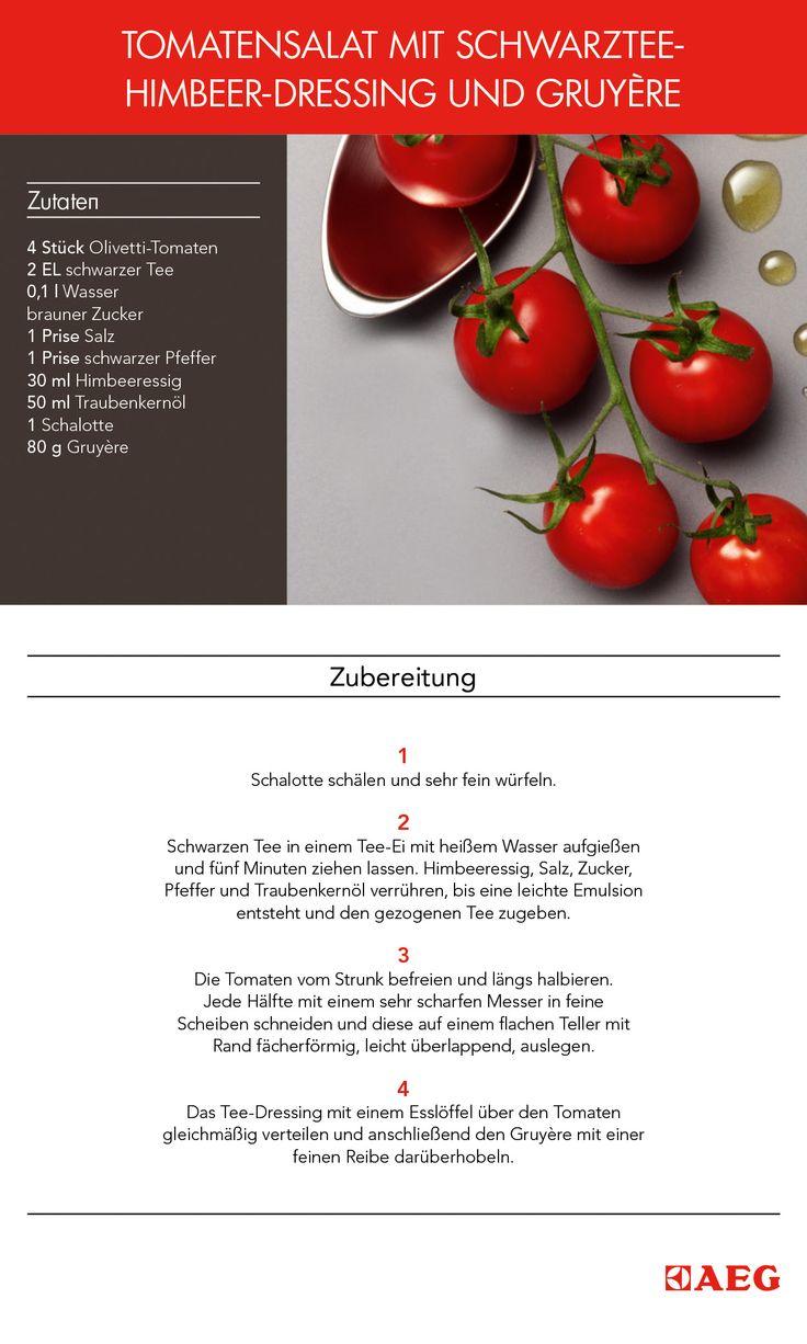 """Das ist das Flavour-Pairing-Rezept: """"Tomatensalat mit Schwarztee-Himbeer-Dressing und Gruyére"""". #FlavourPairing hat es sich zur Aufgabe gemacht wissenschaftlich zu erklären, welche Aromen am besten harmonieren. So entstehen neuartige und ungeahnte Pairing-Optionen."""