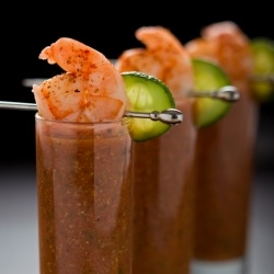 chilled summer gazpacho - tomato cucumber soup....to drink!i Bet a little vodka would make it really good...
