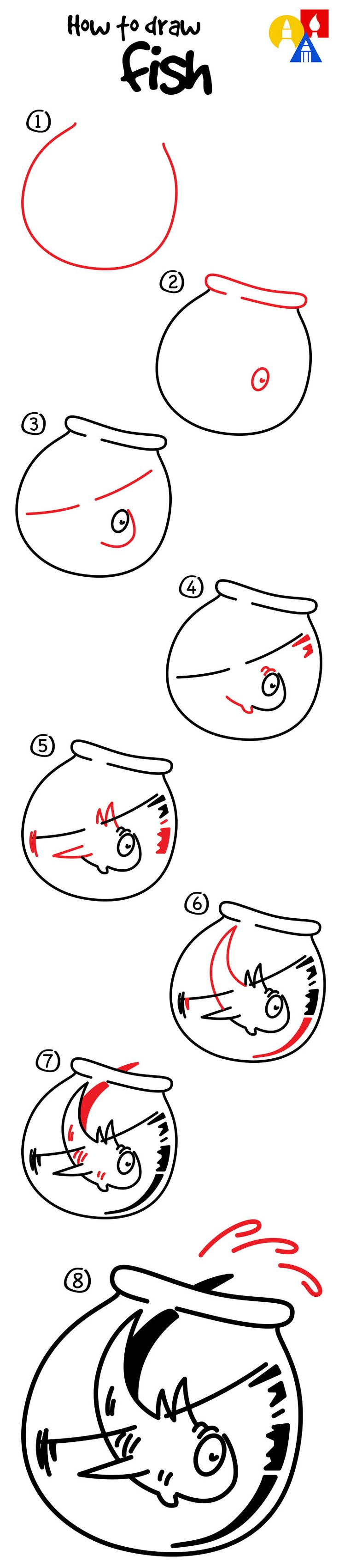 How to draw Fish from The Cat In The Hat! Fun Dr. Seuss project - check out the video for even more explicit instructions and how to add color with pastels