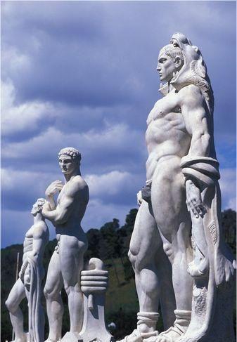 ༻✿༺ ❤️ ༻✿༺ Rome | Statues of male athletes in the fascist era Stadio dei Marmi, in the Foro Italico sports complex. ༻✿༺ ❤️ ༻✿༺