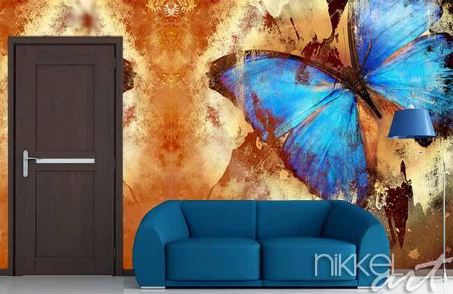 Fotobehang vlinder in grunge stijl - www.nikkel-art.nl/fotobehang-1058-vlinders-in-grunge.html