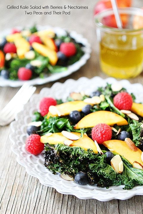 Grilled Kale Salad with Berries & Nectarines Recipe on twopeasandtheirpod.com My favorite summer salad!