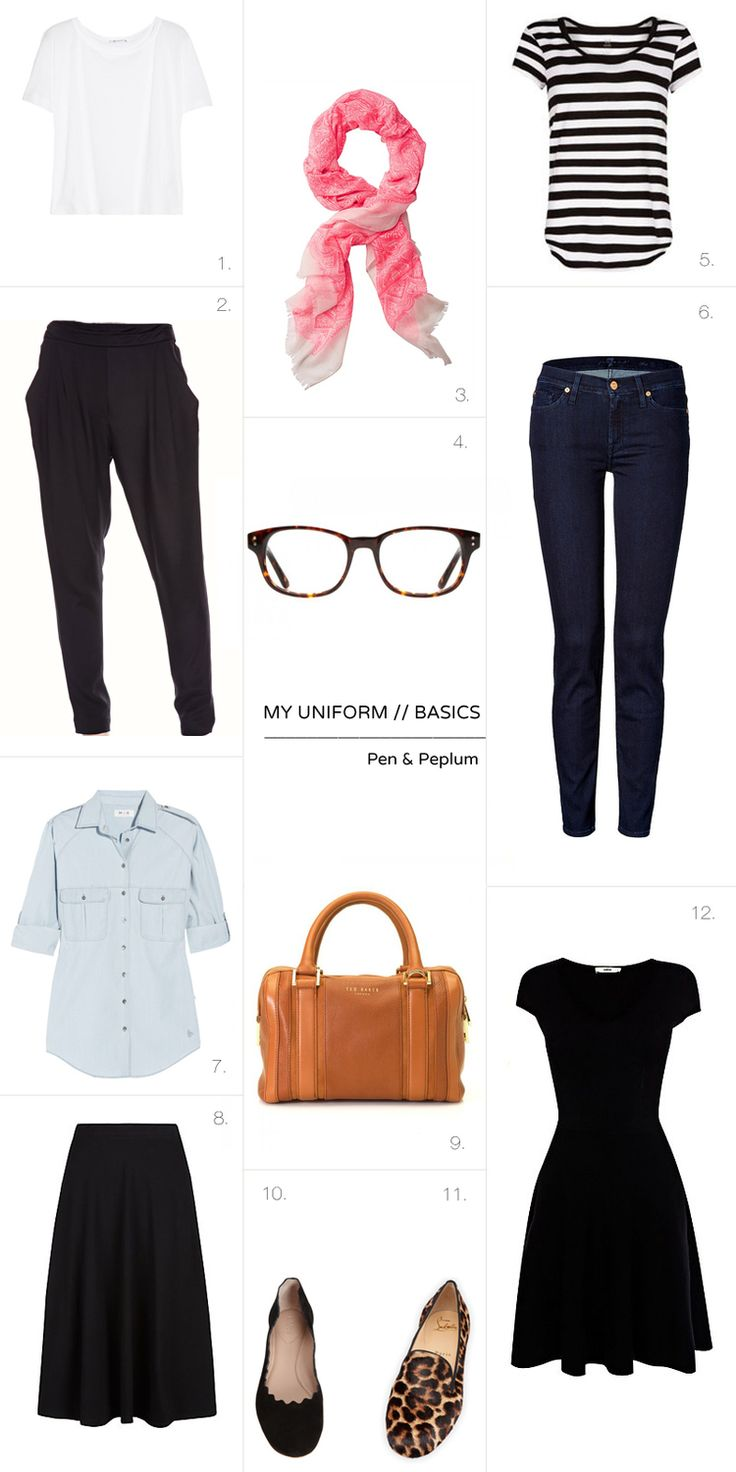 capsule wardrobe basics - would not do the button up, and would do different black pants, but like the other pieces