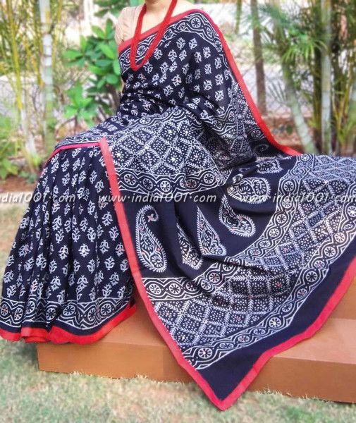 Hand Block Printed Cotton Saree with mirror work