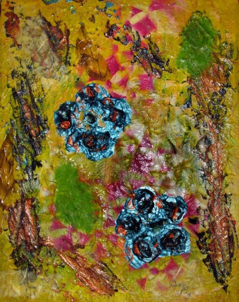 mixed media art on canvas 24x30 cm materials: acrylics, papers, gouache, glitter glue, sray paint