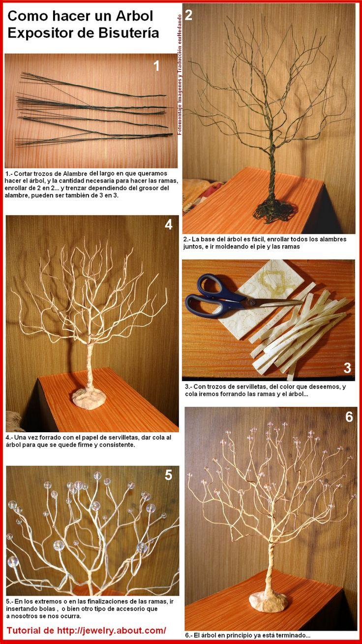 Como hacer un Arbol Expositor de Bisuteria en Alambre - enrHedando