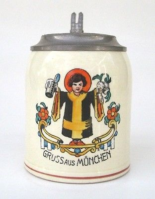 i love this vintage german gruss aus munchen greetings from munich lidded beer stein with the. Black Bedroom Furniture Sets. Home Design Ideas