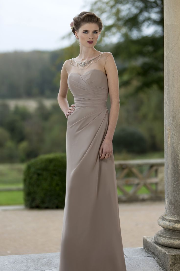 New M Slim fitting bridesmaids dress with beaded illusion neckline and beaded waist band