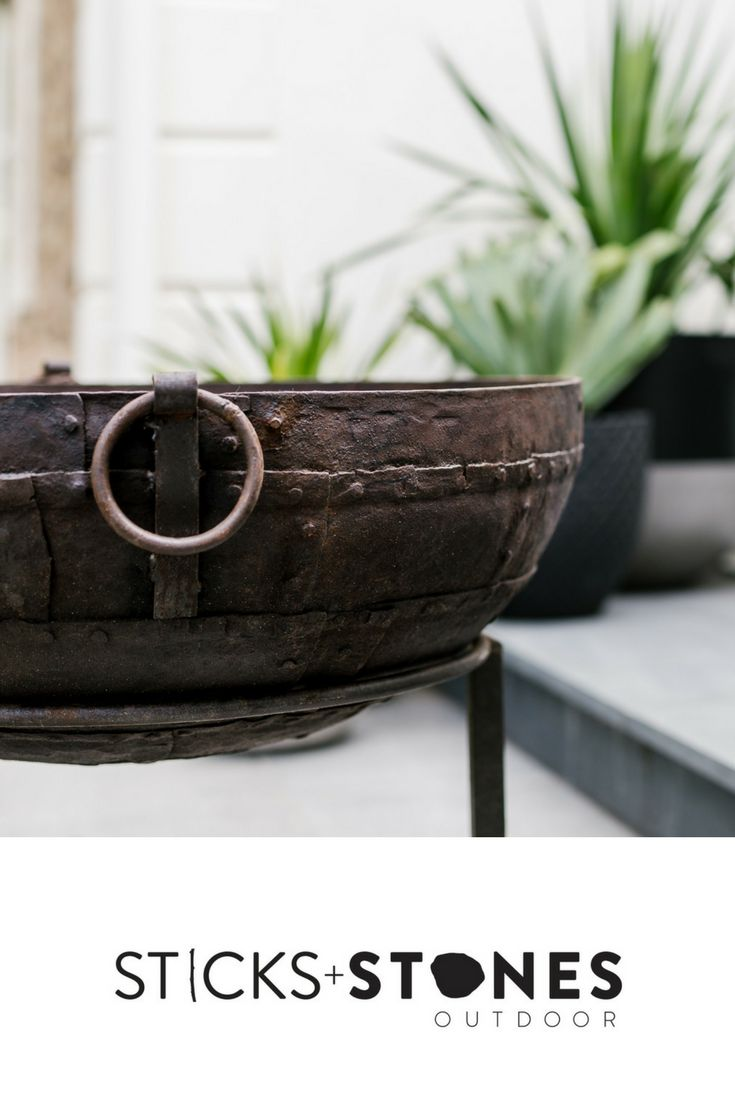 Original Indian Fire bowls, individually unique pieces. Our Vintage Kadai Bowl – Including Low Stand is perfect to complete your firepit and BBQ cooking utensils for an impressive outdoor feast. It comes in a variety of sizes. At Sticks + Stones Outdoor, we travel the globe to source the most stunning, affordable, practical and stylish items to help you create your own beautiful outdoor space. #outdooraccessories #firepits #BBQ #outdoorcooking