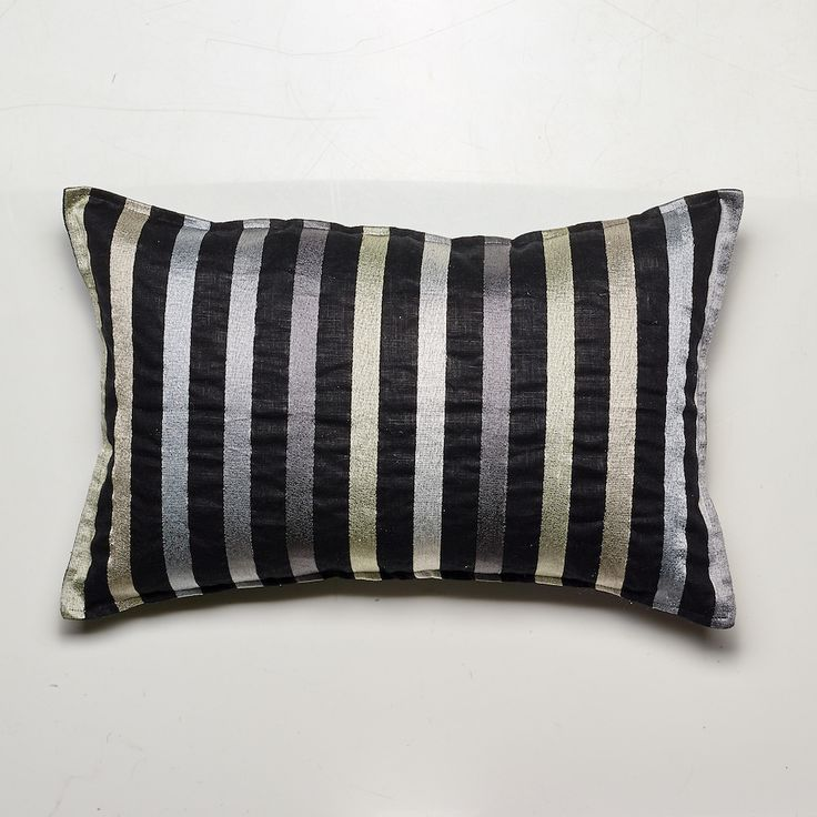 Pencil Stripes Cushion, Natural tones on Black Linen, 55x35cm, Feather Filled - NEW LUXOTIC DESIGN - Buy It Now! - LUXOTIC