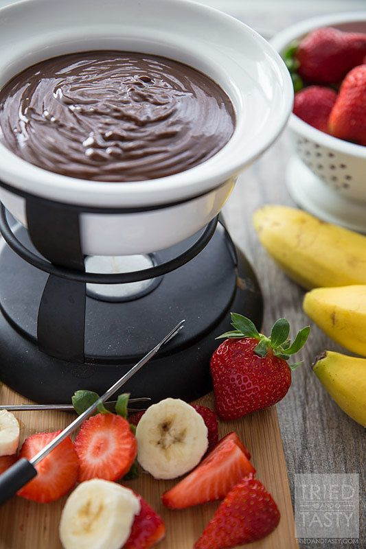 Get the recipe: three-ingredient chocolate peanut butter fondue Image Source: Tried and Tasty
