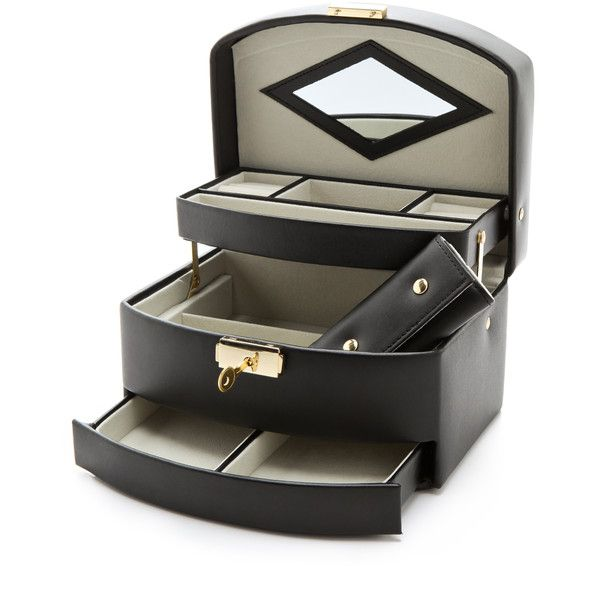 Gift Boutique Gift Boutique Three Level Jewelry Box - Black (8,000 INR) ❤ liked on Polyvore featuring home, home decor, jewelry storage, 3 shelf, black jewelry box, black home decor, locking jewelry box and leather jewelry box