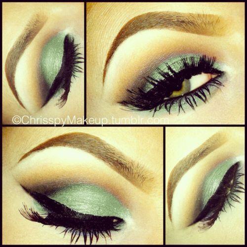 Ohh: Make Up, Day Makeup, Eye Makeup, Cat Eye, Eyeshadows Looks, Than, Beautiful, Green Eyeshadows, Eyemakeup