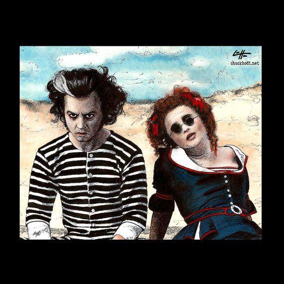 "Schrift 8 x 10""- Sweeney Todd und Mrs. Lovett - Tim Burton Johnny Depp, Helena Bonham Carter Pop Art Halloween Horror Demon Barber London"
