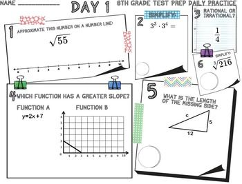 Review 8th grade math concepts with these 10 days of
