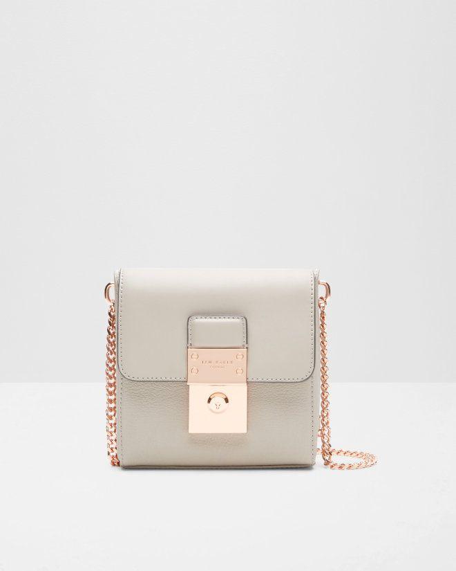 Luggage lock leather cross body bag - Light Grey   Bags   Ted Baker UK