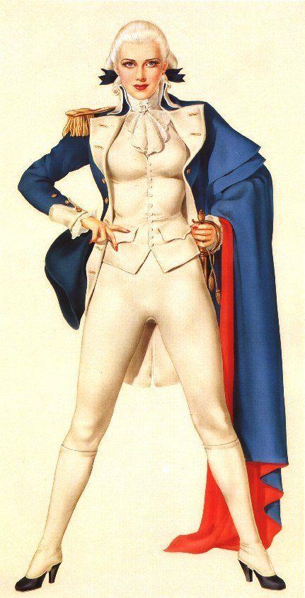 Patriótico era de WWII pin-up vestindo trajes Guerra revolucionária americana. Ilustração por Alberto Vargas,  1940.