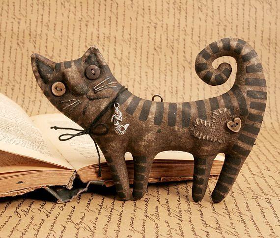 Примитивный народного искусства Кот Кот Кот любитель подарок примитивного декора Хэллоуин кошка Коллекция текстильные примитивные куклы животных