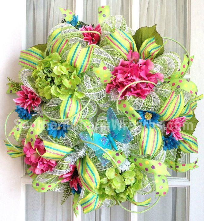deco mesh Spring wreath, shower mesh sponges taken apart work well for this too.