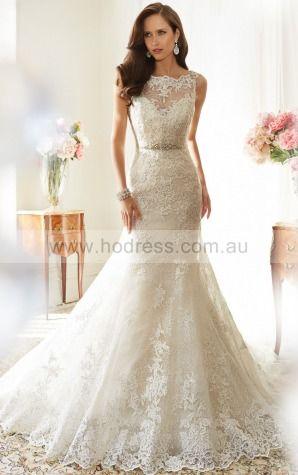 Princess Sleeveless Bateau Lace-up Floor-length Wedding Dresses feaf1012--Hodress