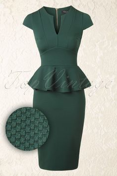 Vintage Chic - 50s Carese Peplum Dress in Green
