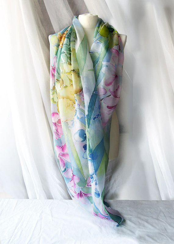 Grote sjaal bloemen  grote sjaal  unieke van MinkuLUL op Etsy