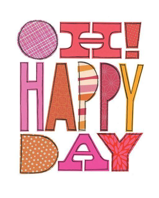 Oh collage Happy Day - stampa GICLÉE di 8 x 10, luminoso, modello, tipografiche, Susan Black