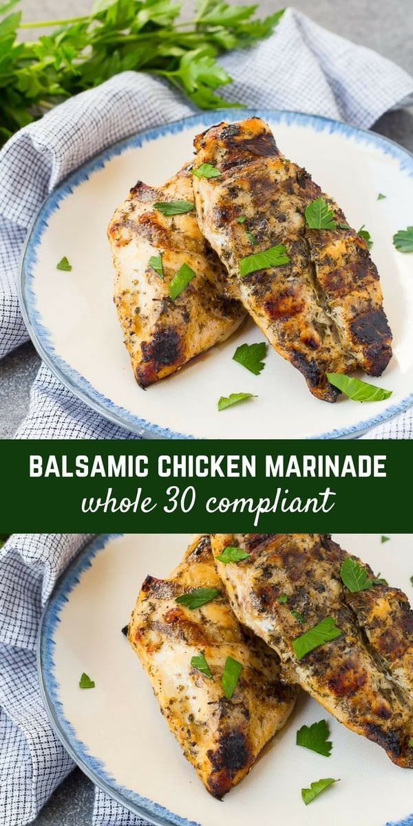 This balsamic chicken marinade is made using all ingredients you probably have on hand. It will become a favorite for both grilling and cooking in the oven! Chickenrecipe #recipe #dinner-recipe
