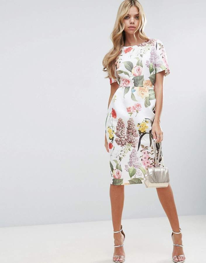97ea69a5e19ef ASOS Floral Print Wiggle Dress | trend 2019 in 2019 | Dresses ...