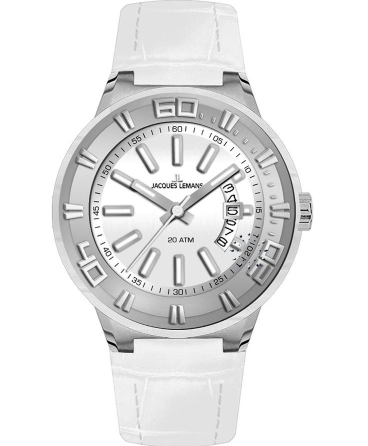Jacques LEMANS Miami Sport Ladies White Leather Strap Μοντέλο: 1-1771D Η τιμή μας: 107€ http://www.oroloi.gr/product_info.php?products_id=33853