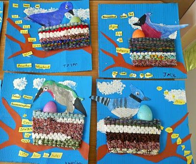 Paper Collage with weaving - Birds
