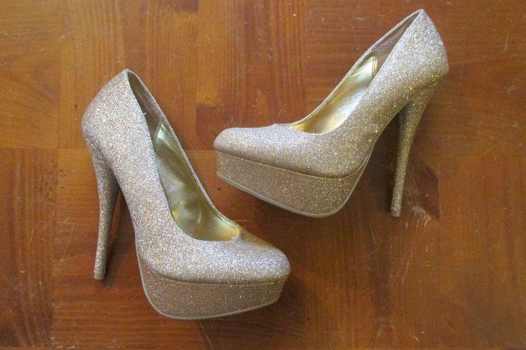 Charlotte Russe 6 Shoes Gold Metallic Bling High Heels Platform Stilettos 5.5 in #CharlotteRusse #PlatformsWedges #Party