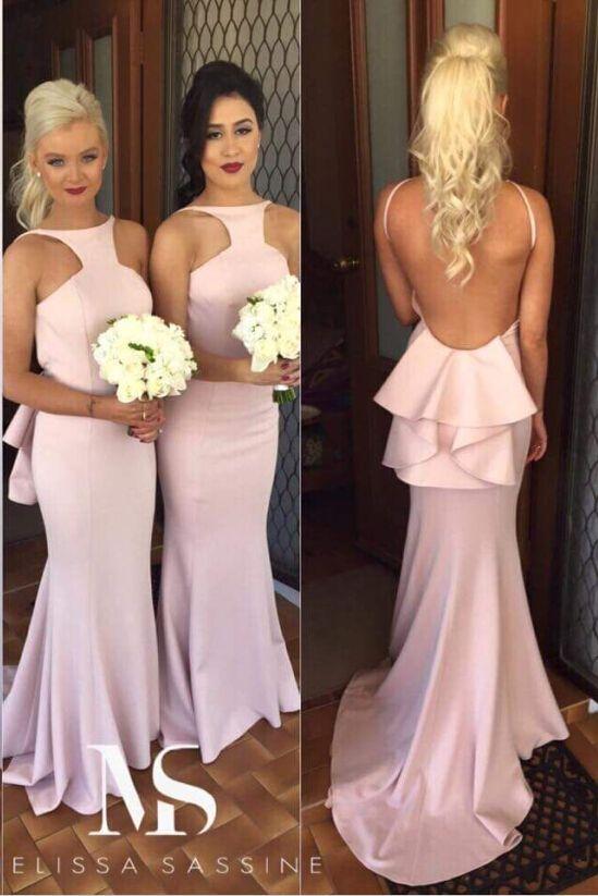 Backless Bridesmaid Dress, Long Bridesmaid Dress, Pink Bridesmaid Dress, Mermaid Bridesmaid Dress, Wedding Party Dresses, Satin Bridesmaid Dress, Formal Party Dress