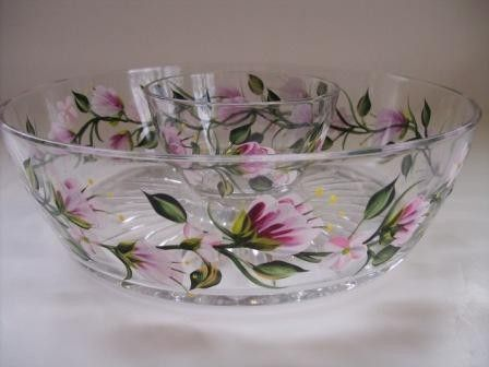 Chip and Dip Set in pink florals by Morningglories1 on Etsy, $49.99