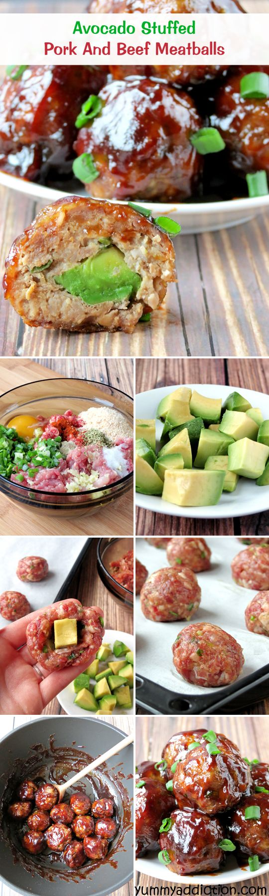 I LOVE avocado! I can't wait to try and make all of this Avocado Stuffed Pork And Beef Meatballs | http://YummyAddiction.com
