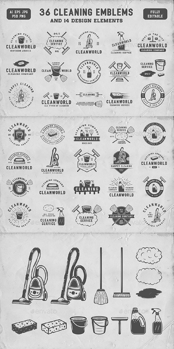 36 Vintage Cleaning Emblems Cleaning service logo