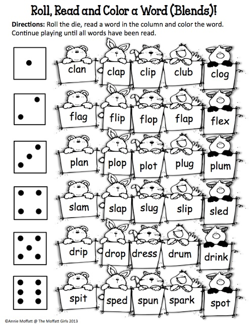 Roll, Read and Color a Word (Blends)