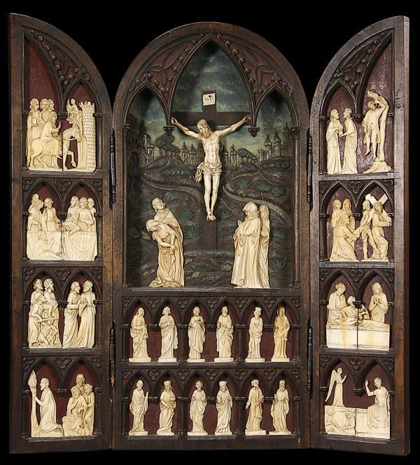 Gothic style carved ivory and wood passion triptych