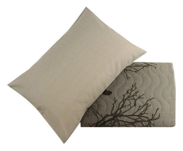 Parure copriletto misto cotone Bird grigio, matrimoniale | Dalani Home & Living