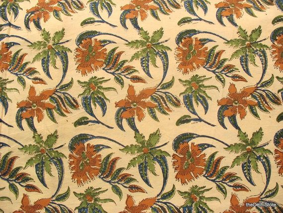 Colours! - Indian Handloom cotton Kalamkari Floral Print by theDelhiStore, $12.00
